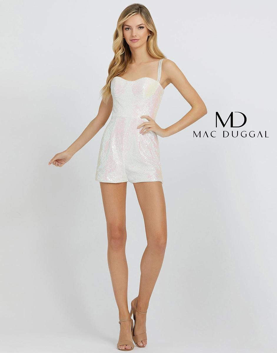 Style 66858A Mac Duggal White Size 4 Pageant Homecoming Tall Height Jumpsuit Dress on Queenly