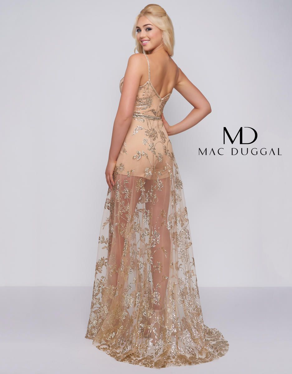 Style 48815A Mac Duggal Gold Size 4 Homecoming Sheer Tall Height Jumpsuit Dress on Queenly