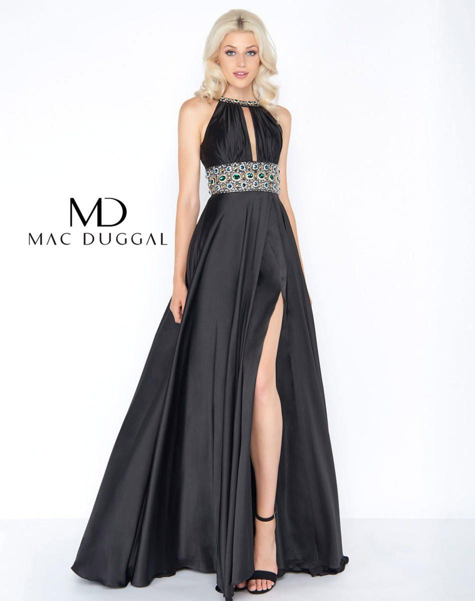 Style 77435A Mac Duggal Black Size 16 Belt Halter Tall Height Side slit Dress on Queenly