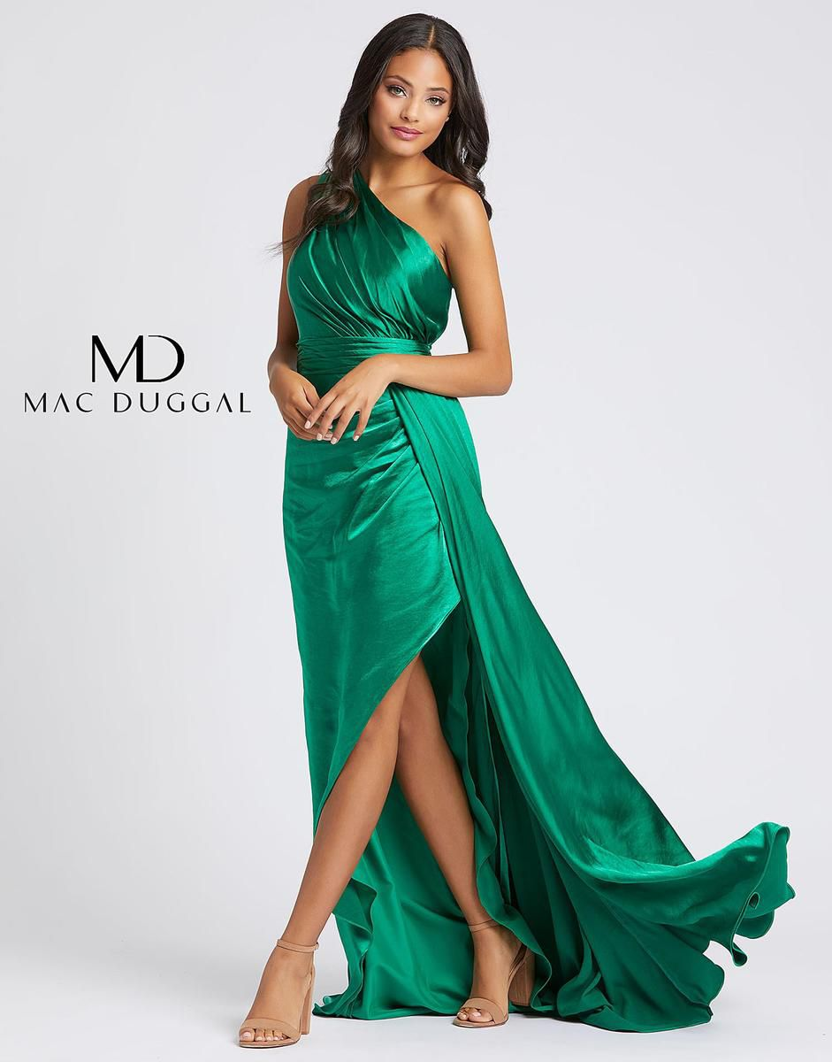 Style 49006A Mac Duggal Green Size 8 Pageant Tall Height Side slit Dress on Queenly