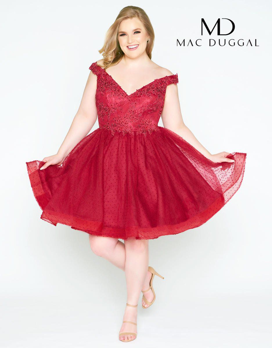 Style 67608F Mac Duggal Red Size 14 Sorority Formal Tall Height Wedding Guest Cocktail Dress on Queenly