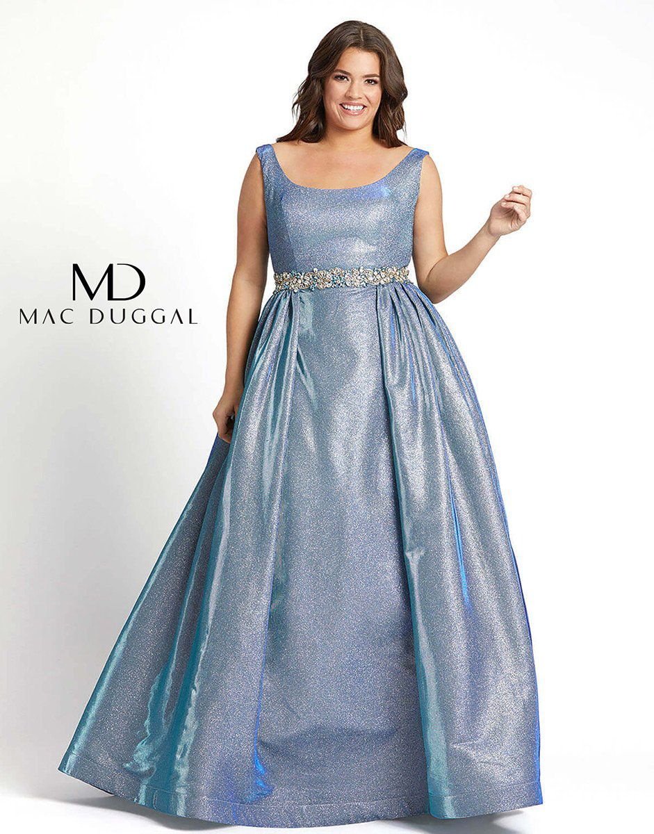Style 66817F Mac Duggal Light Blue Size 16 Tall Height Ball gown on Queenly