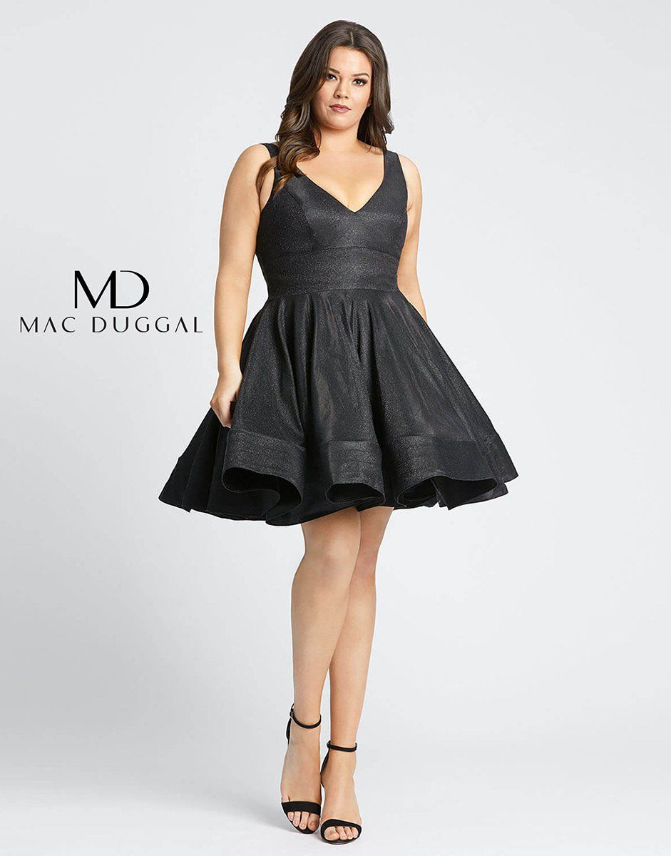 Style 48891F Mac Duggal Black Size 24 Tall Height Wedding Guest Cocktail Dress on Queenly