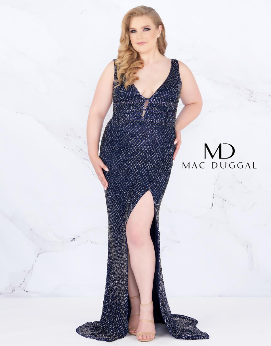Style 4850F Mac Duggal Blue Size 24 Backless Tall Height Side slit Dress on Queenly