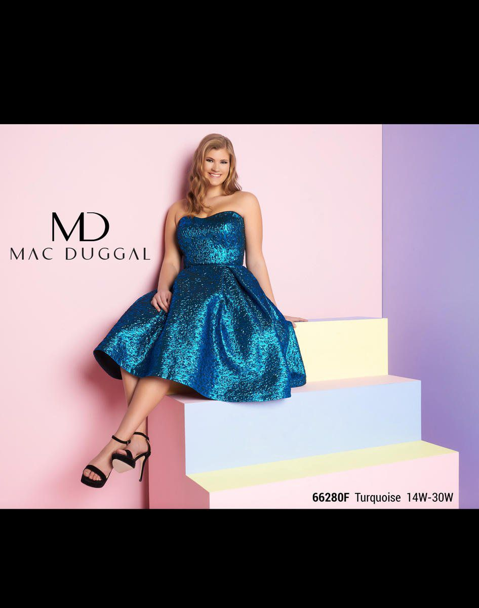 Style 66280F Mac Duggal Blue Size 18 Plus Size Tall Height Wedding Guest Cocktail Dress on Queenly