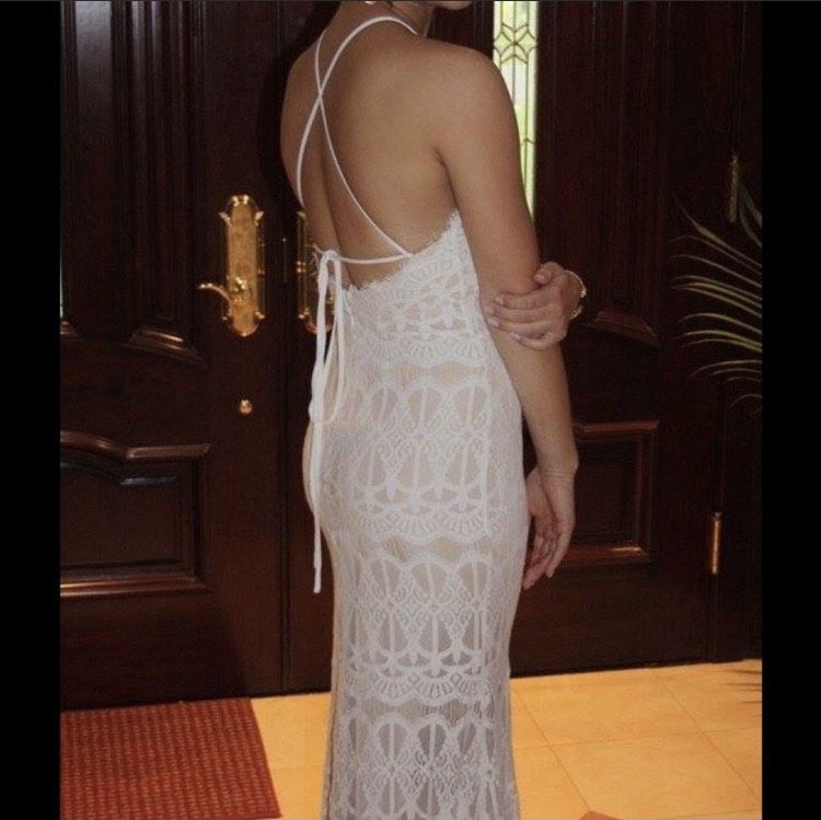 True Decadence White Size 2 Nude Tall Height Lace Straight Dress on Queenly