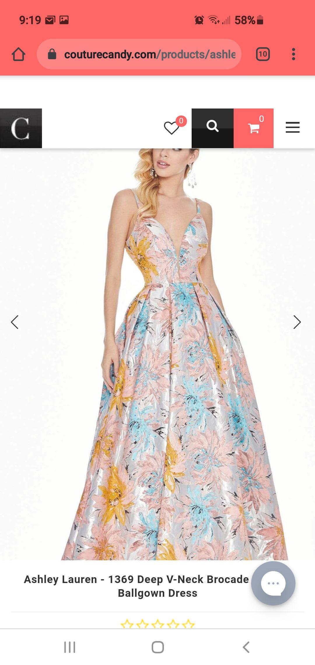 Ashley Lauren  Multicolor Size 6 Sequin Floral Jewelled V Neck A-line Dress on Queenly