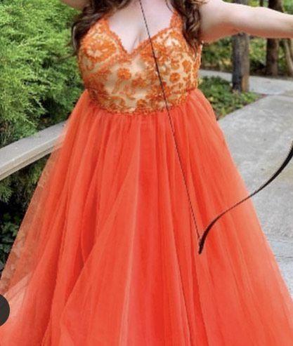 Tarik Ediz Orange Size 20 Plus Size Tall Height Ball gown on Queenly