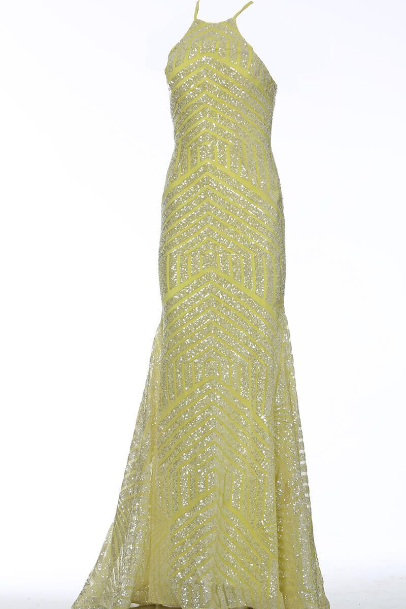 Style 4132 Jovani Yellow Size 8 Prom Halter Tall Height Mermaid Dress on Queenly