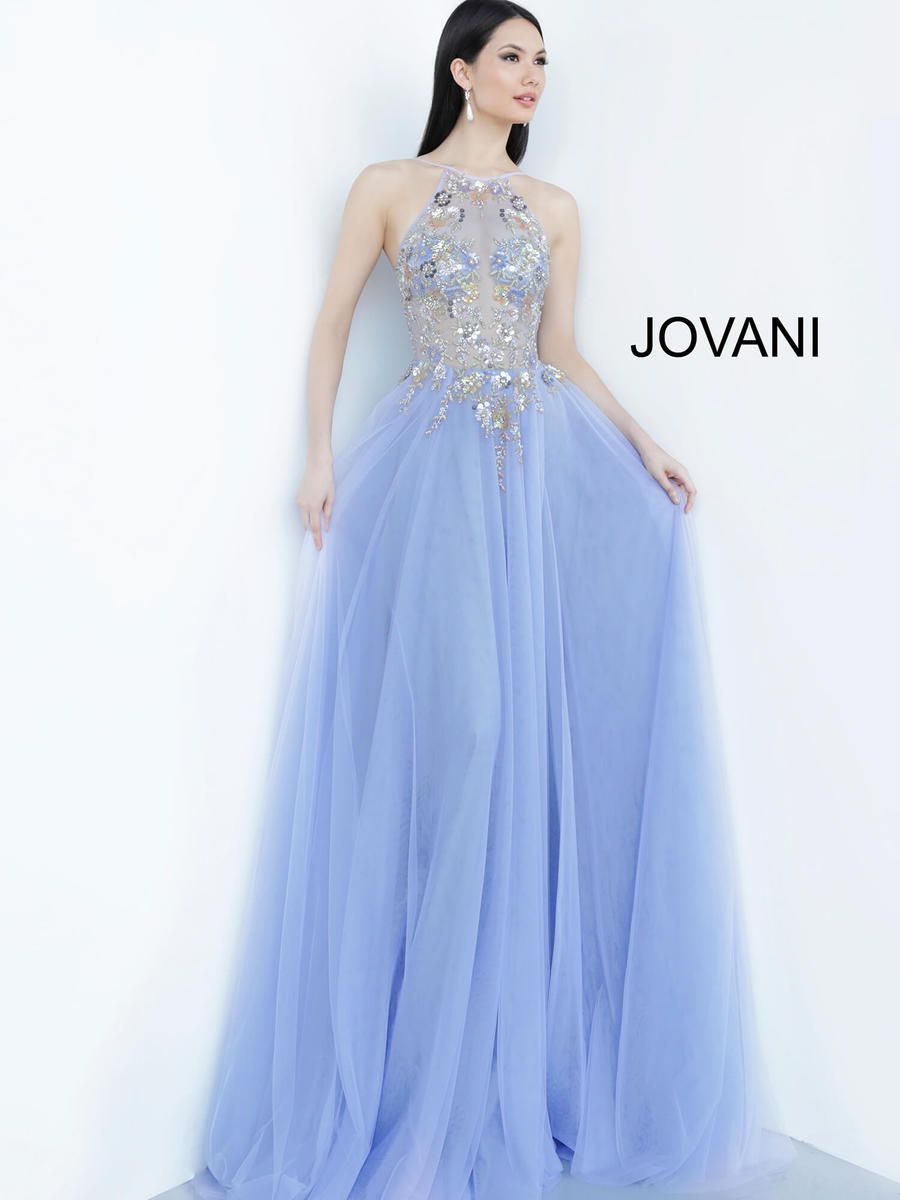 Style 00594 Jovani Blue Size 4 Sheer Jewelled Prom Side slit Dress on Queenly