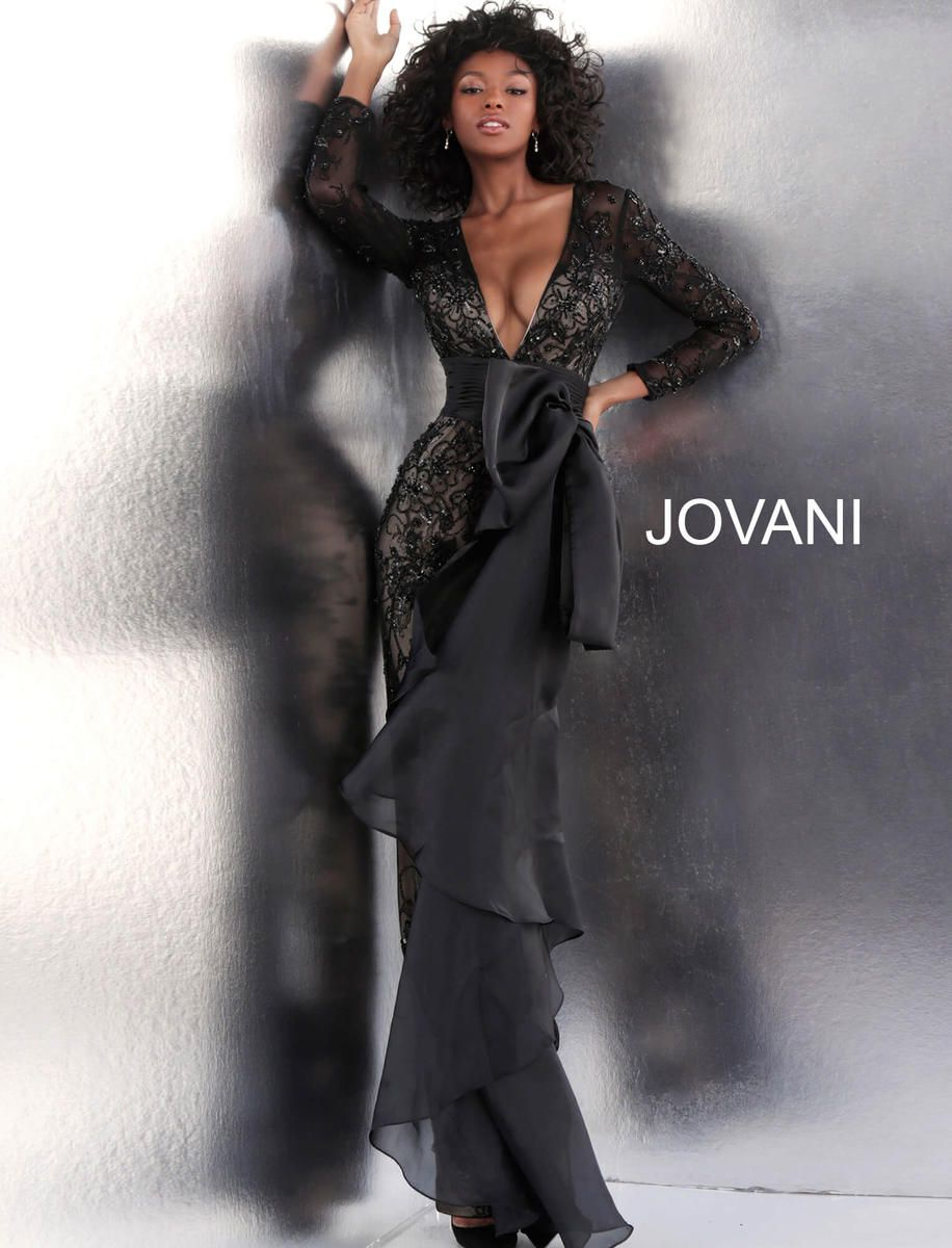 Style 64068 Jovani Black Size 6 Sleeves Pageant Tall Height Lace Mermaid Dress on Queenly