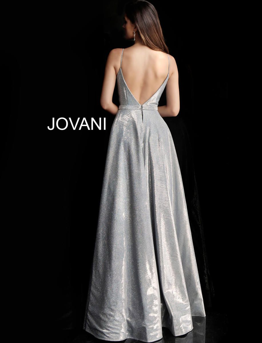 Style 66284 Jovani Silver Size 6 Backless Tall Height Lace Side slit Dress on Queenly