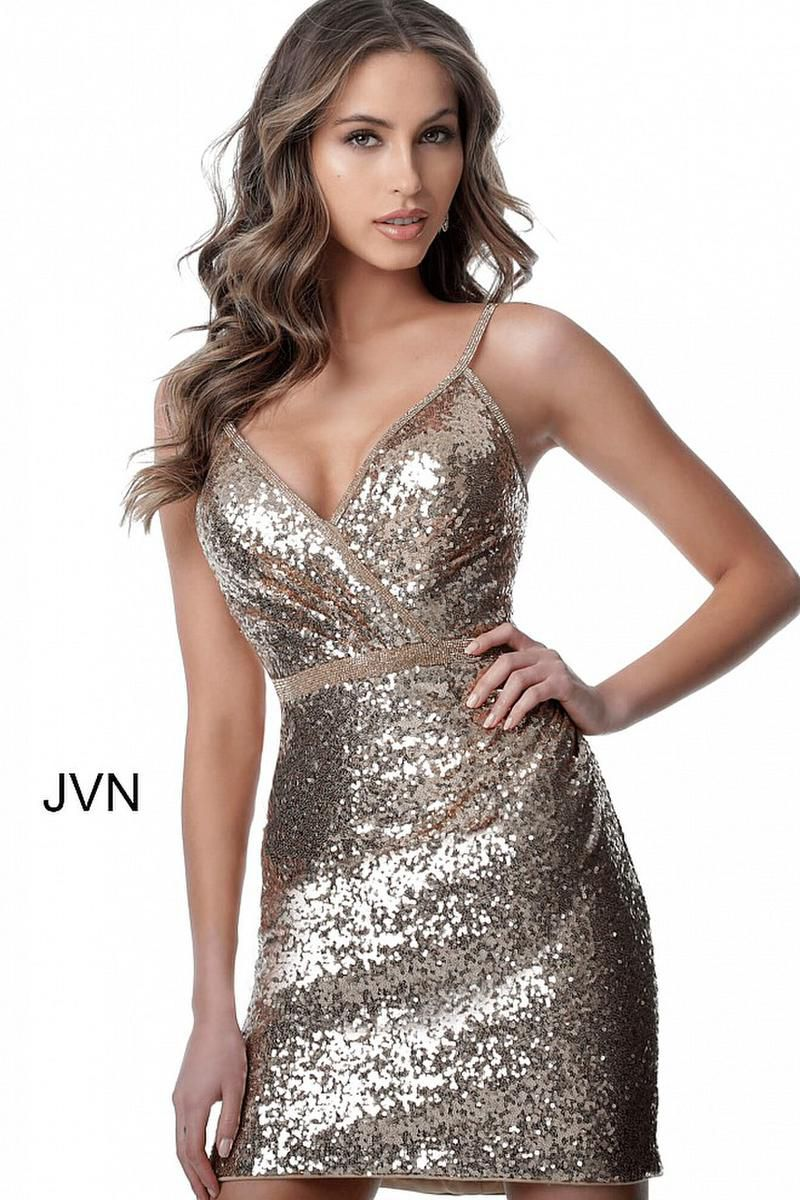 Style JVN2091 Jovani Gold Size 00 Mini Sorority Formal Tall Height Cocktail Dress on Queenly