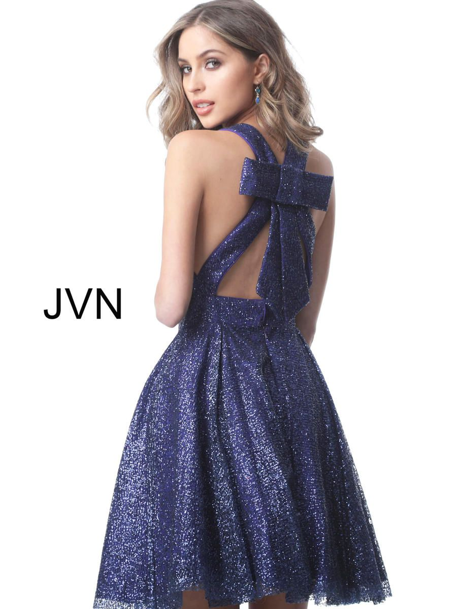 Style JVN2131 Jovani Purple Size 8 Sorority Formal Tall Height Cocktail Dress on Queenly