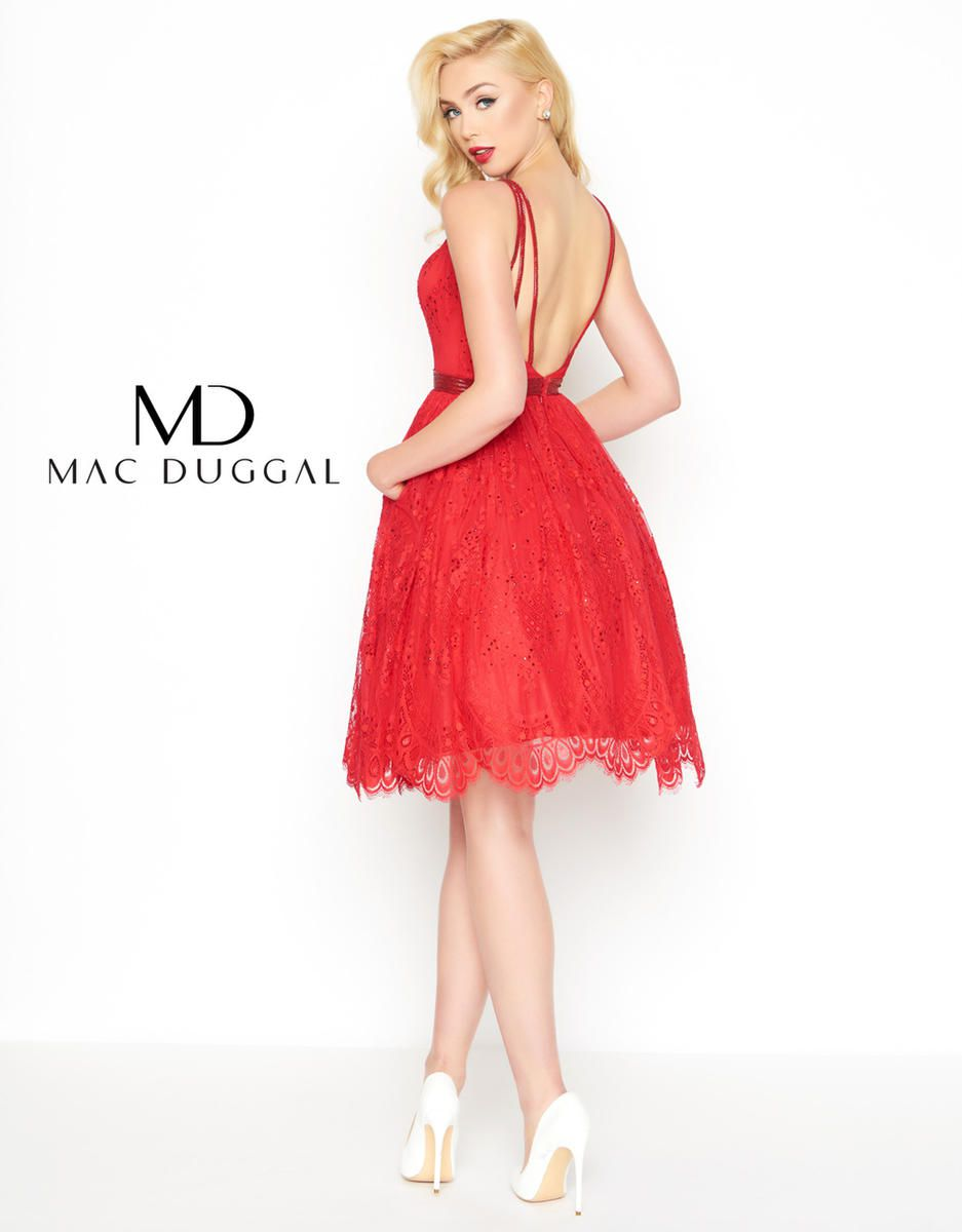 Style 40920R Mac Duggal Red Size 0 Lace Wedding Guest Cocktail Dress on Queenly