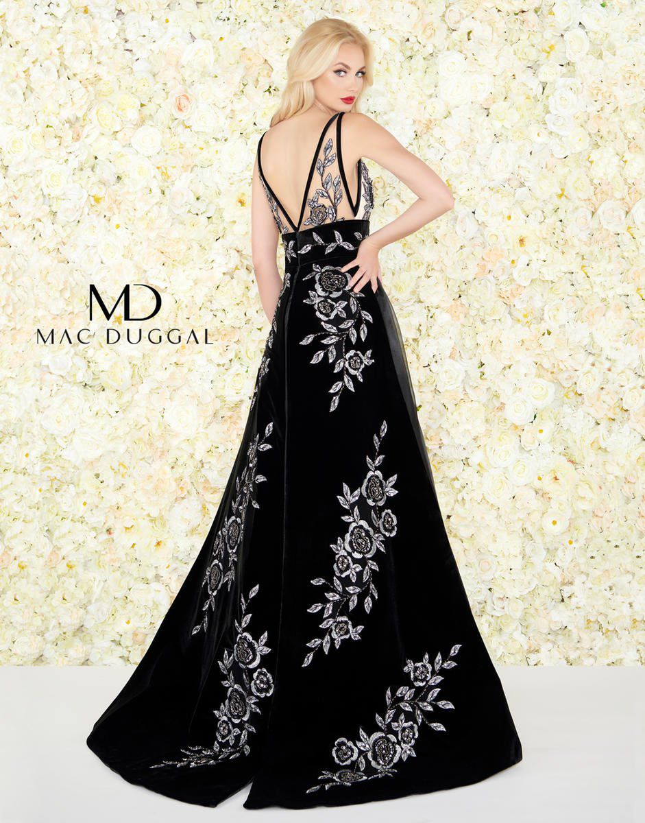 Style 2035R Mac Duggal Black Size 6 Prom Embroidery Ball gown on Queenly
