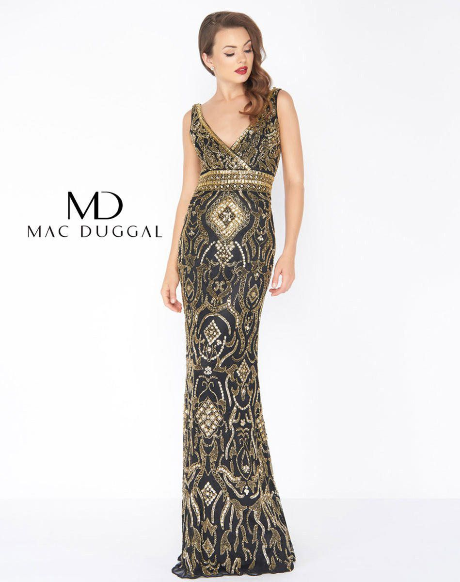 Style 4595R Mac Duggal Black Size 8 Embroidery Pageant Straight Dress on Queenly