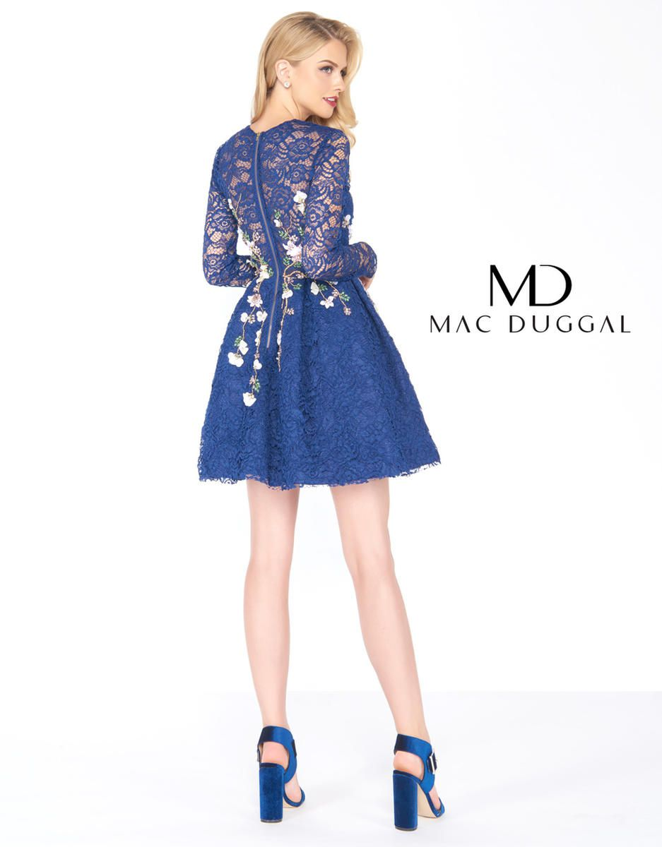 Style 50443R Mac Duggal Blue Size 2 Lace Wedding Guest Cocktail Dress on Queenly