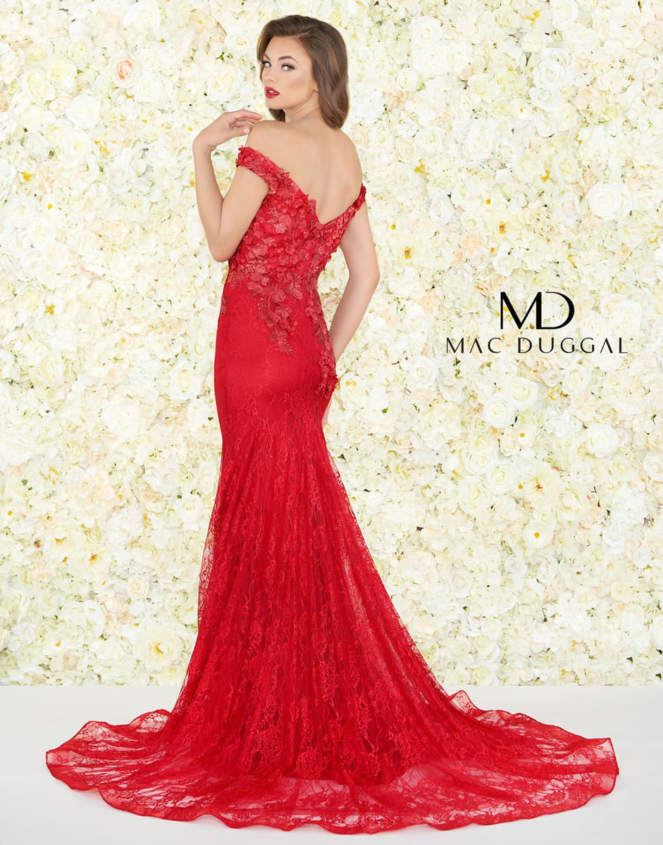 Style 66214R Mac Duggal Red Size 18 Prom Pageant Lace Mermaid Dress on Queenly