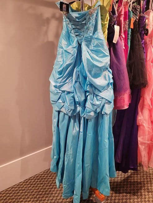 Style P50064 Precious Formals Blue Size 12 Quinceanera Plus Size Tall Height A-line Dress on Queenly