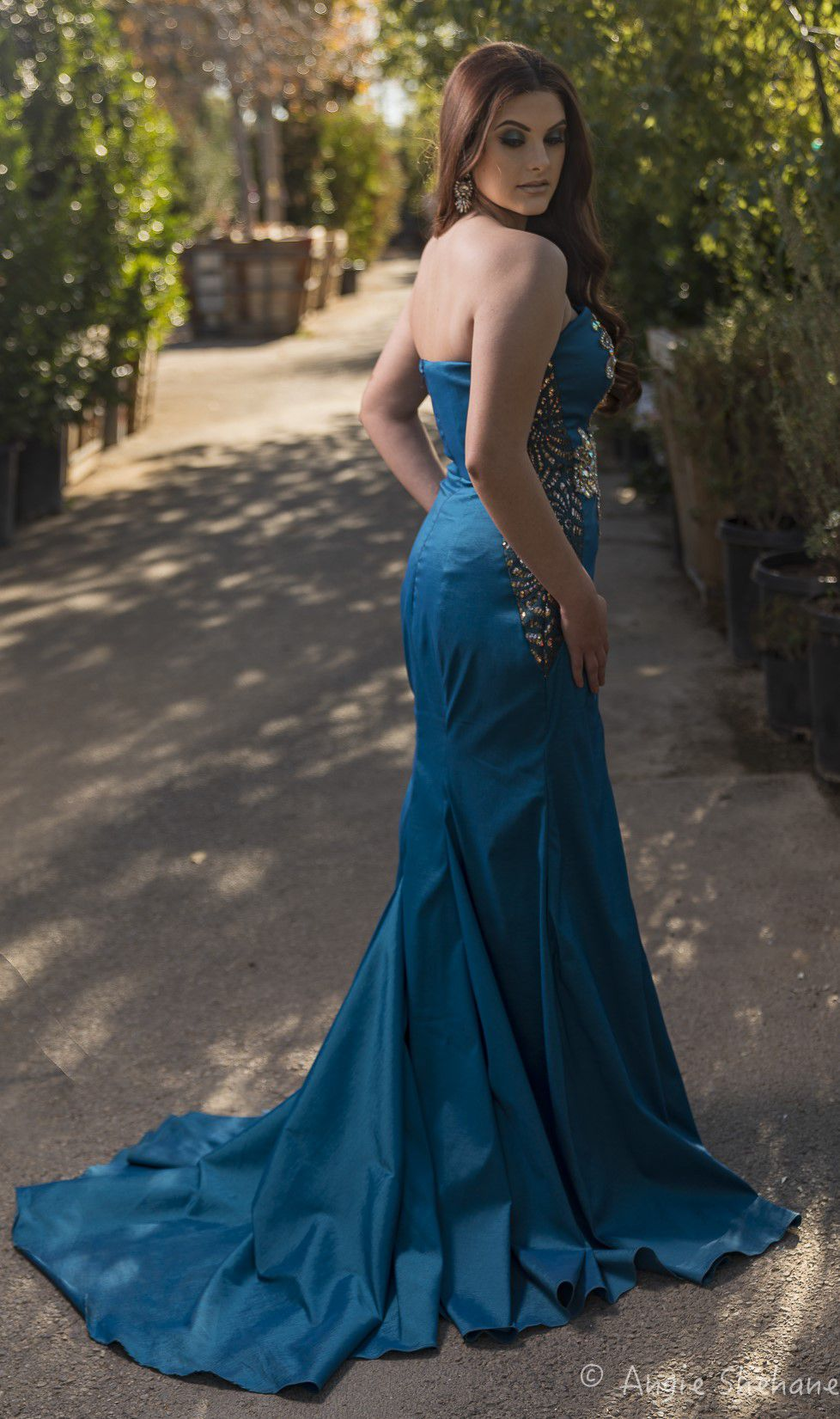 Larissa Couture LV Blue Size 12 Plus Size Train Side slit Dress on Queenly