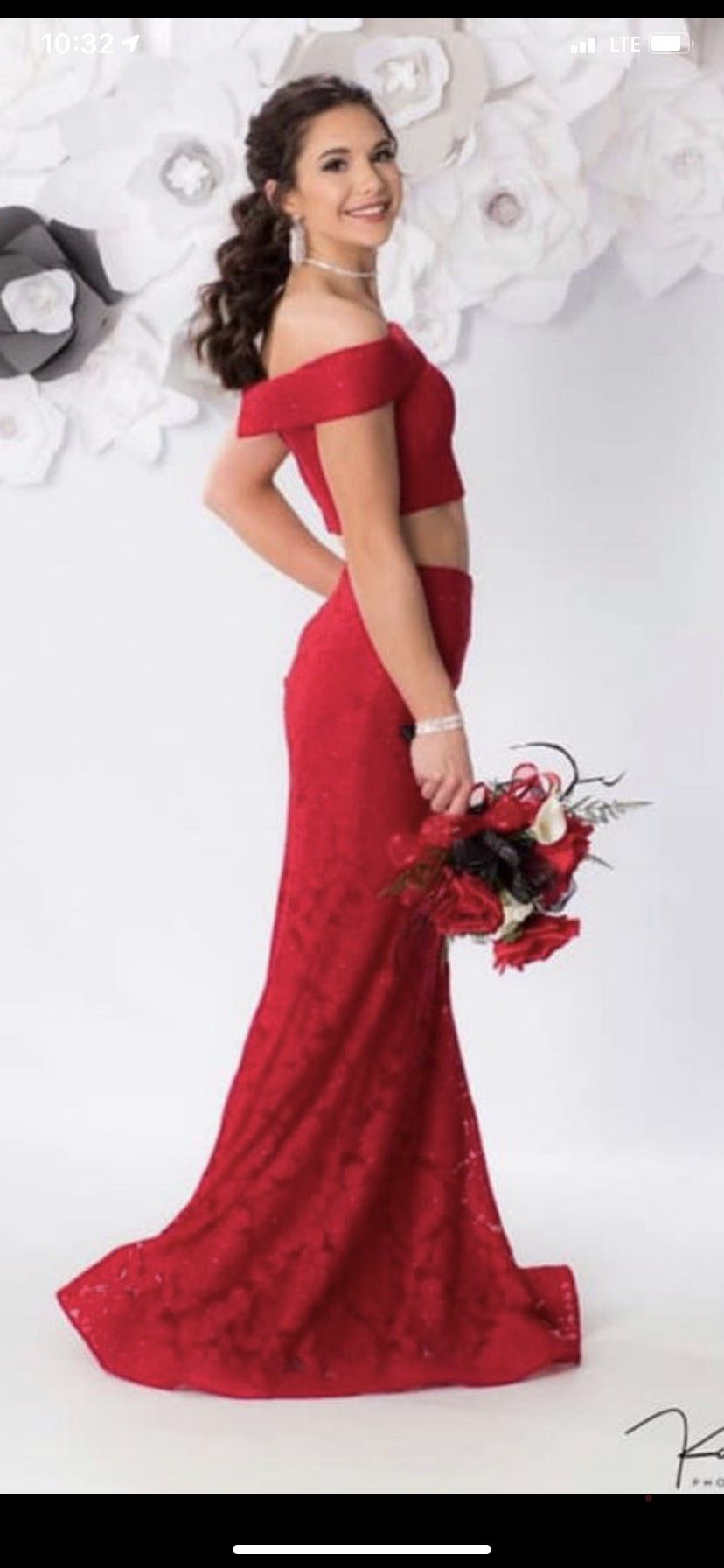 La Femme Red Size 2 Tall Height Lace Mermaid Dress on Queenly