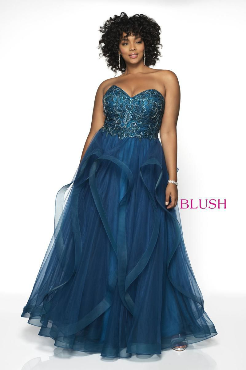 Style 5724W Blush Prom Blue Size 22 Tulle Sweetheart Plus Size Tall Height Ball gown on Queenly