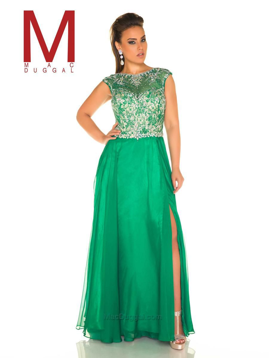 Style 11102F Mac Duggal Green Size 18 Sequin Jewelled Tall Height Side slit Dress on Queenly