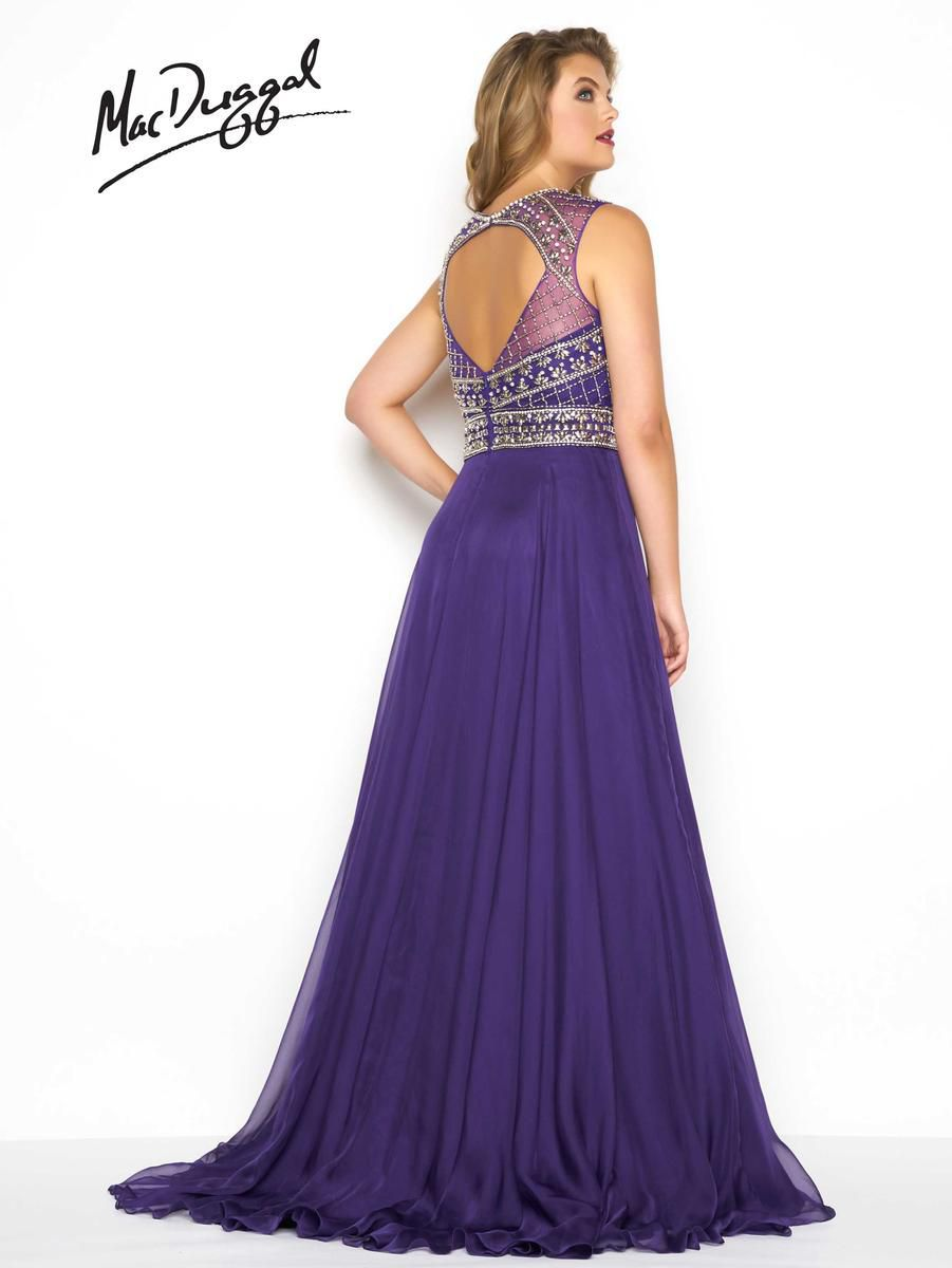 Style 65986F Mac Duggal Purple Size 26 Silk Pattern Prom Plus Size Tulle Side slit Dress on Queenly