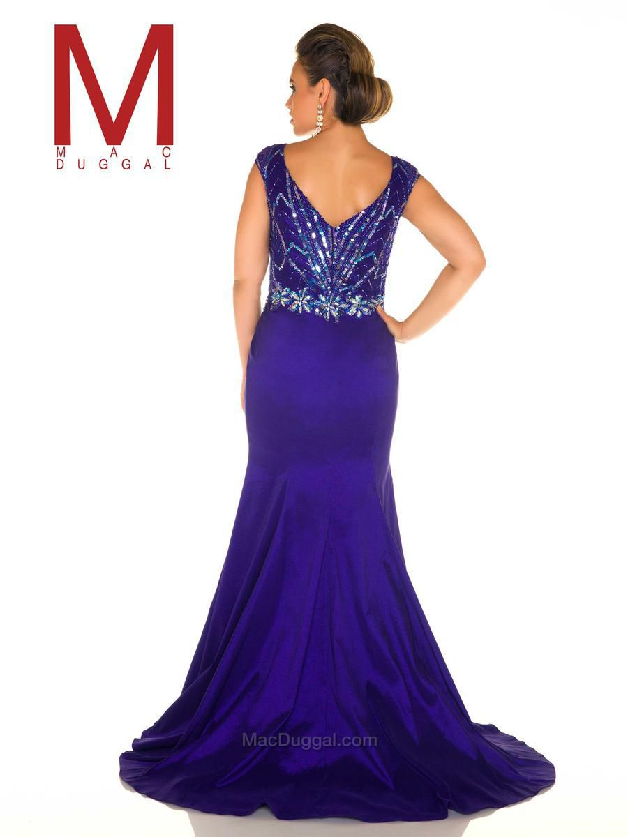 Style 77013F Mac Duggal Purple Size 30 Jewelled Prom Plus Size Side slit Dress on Queenly