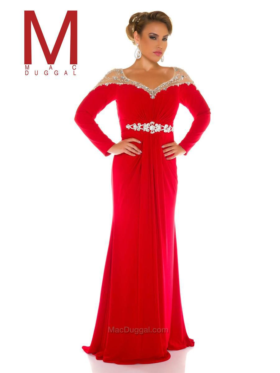 Style 77018F Mac Duggal Red Size 20 Pageant Tall Height Straight Dress on Queenly