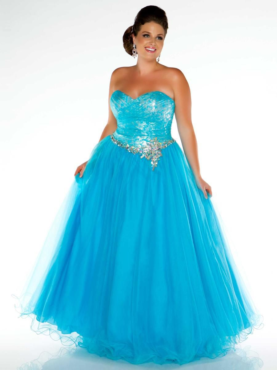 Style 76427F Mac Duggal Blue Size 26 Plus Size Tall Height Ball gown on Queenly