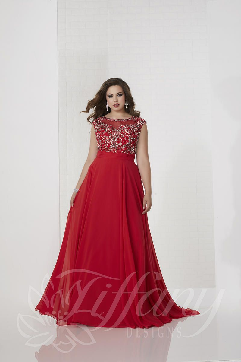 Style 16319 Tiffany Designs Red Size 24 Embroidery Boat Neck Tall Height Lace A-line Dress on Queenly