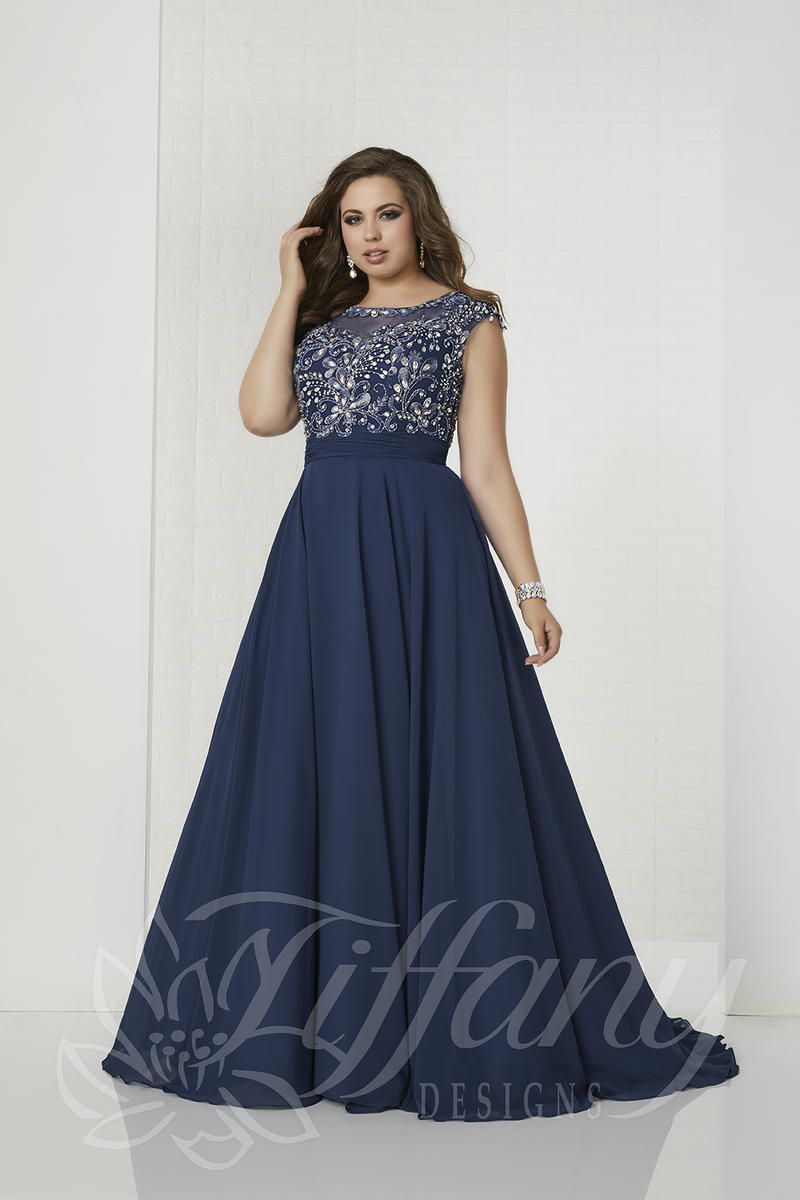 Style 16319 Tiffany Designs Blue Size 22 Boat Neck Tall Height Lace A-line Dress on Queenly