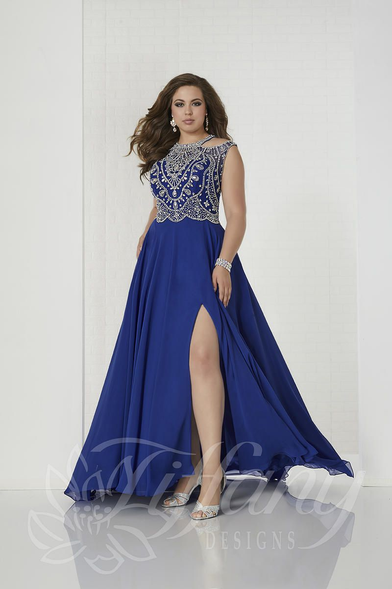 Style 16313 Tiffany Designs Blue Size 18 Backless Train Tall Height Lace Fitted Side slit Dress on Queenly
