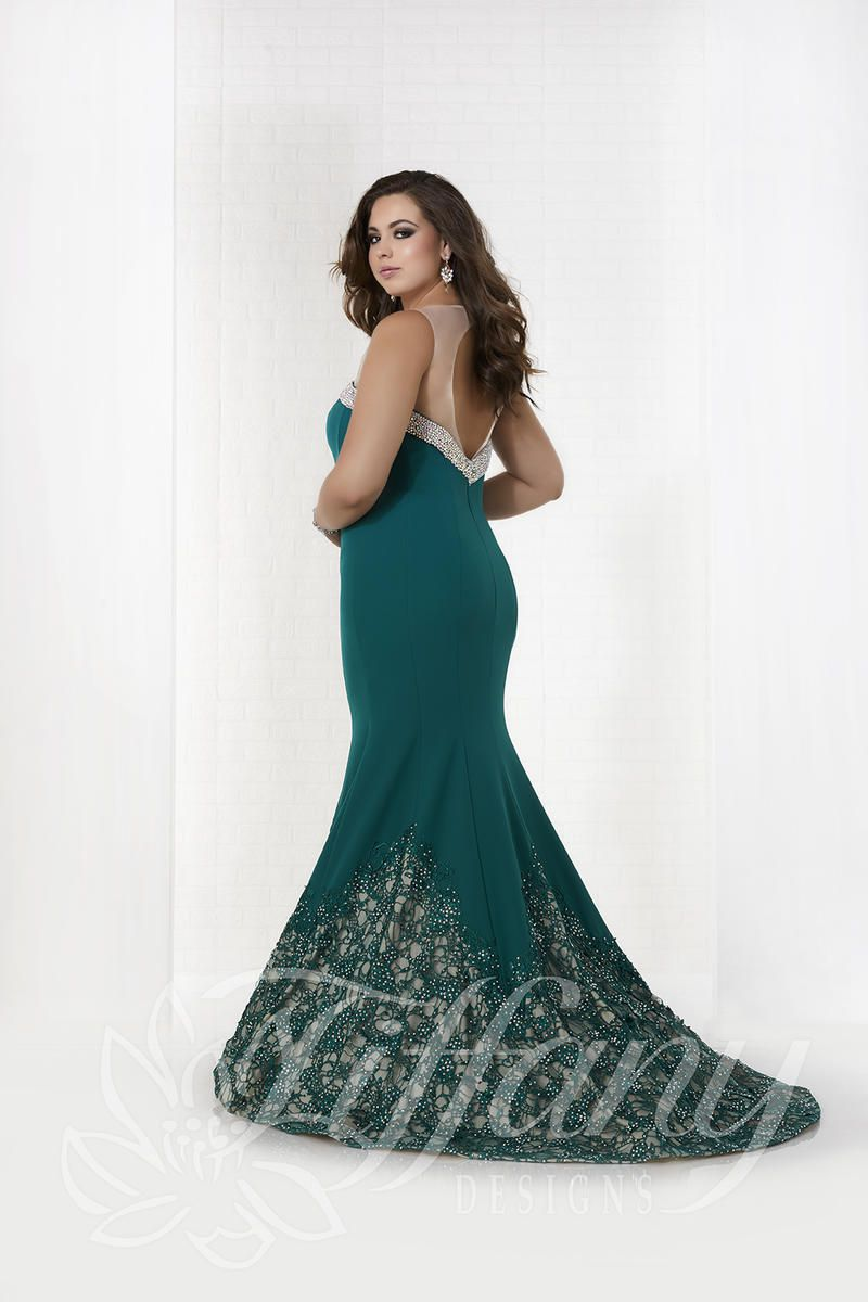 Style 16318 Tiffany Designs Green Size 16 Nude Train Sheer Lace Fitted Mermaid Dress on Queenly