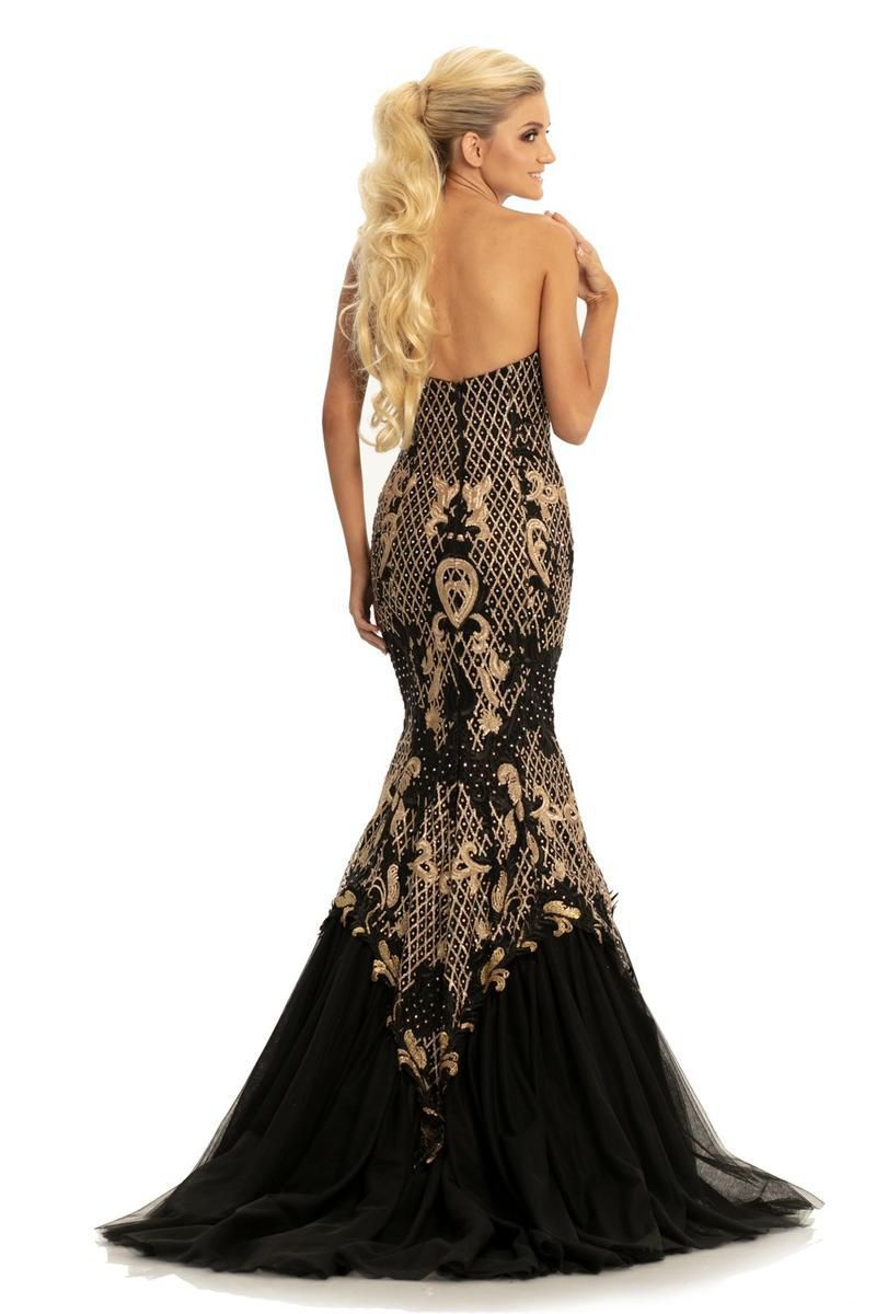Style 9001 Johnathan Kayne Black Size 12 Pageant Sheer Tall Height Mermaid Dress on Queenly