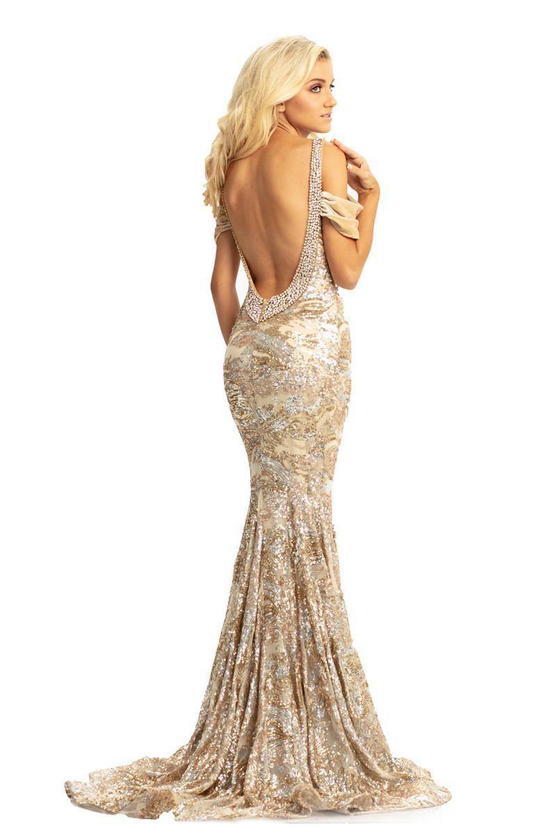 Style 9013 Johnathan Kayne Gold Size 6 Sequin Velvet Mermaid Dress on Queenly