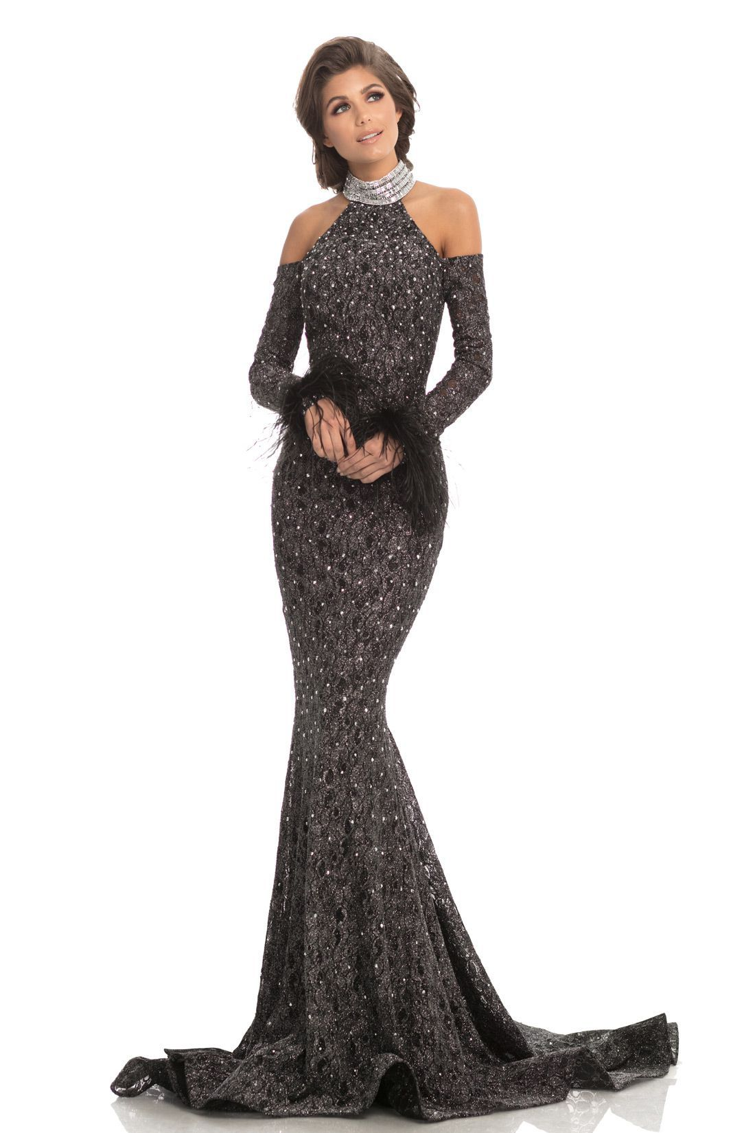 Style 8219 Johnathan Kayne Black Size 12 Pageant Tall Height Lace Mermaid Dress on Queenly