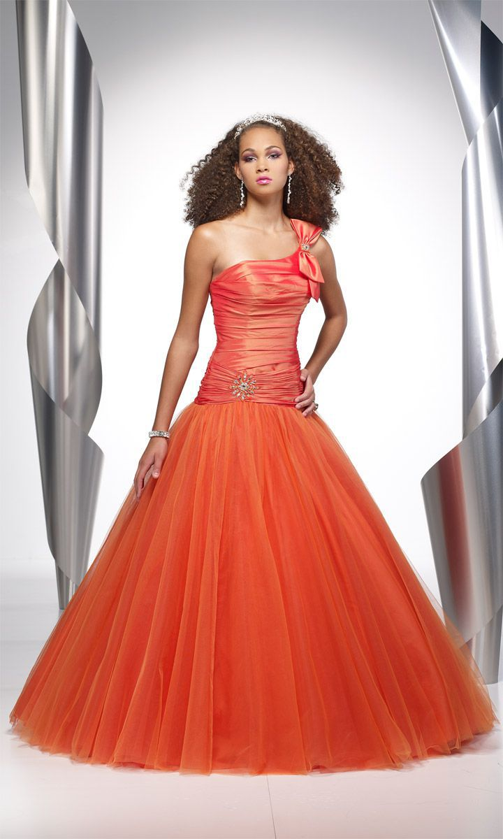 Style 9063 Alyce Paris Orange Size 4 Quinceanera Tall Height Lace Ball gown on Queenly