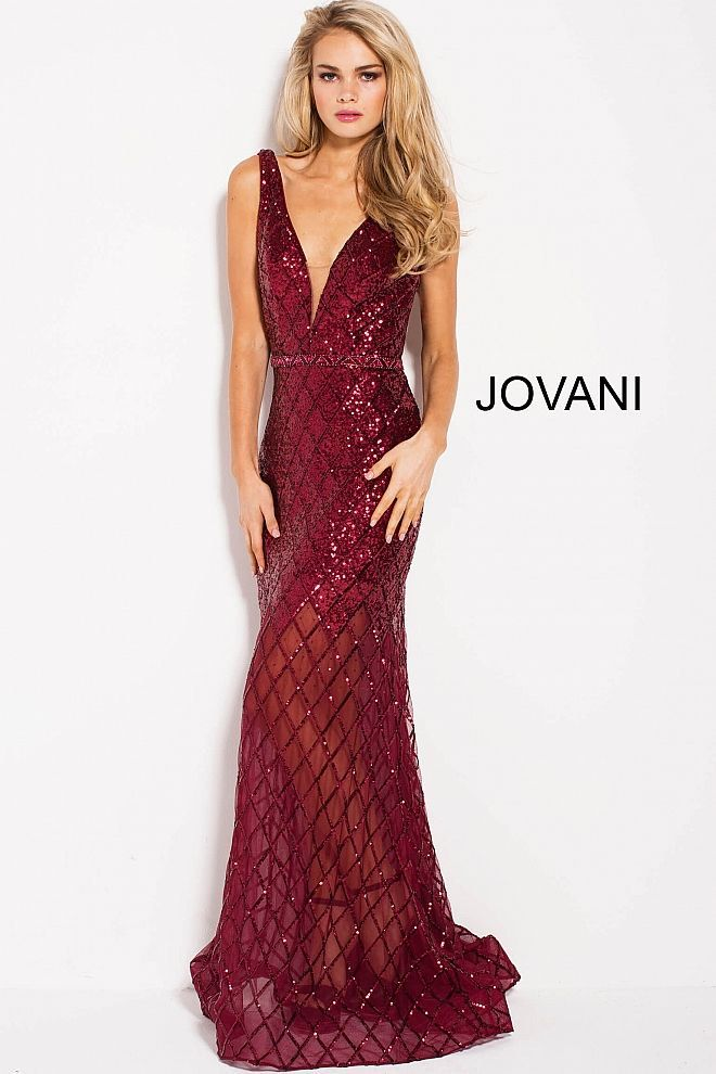 Jovani Red Size 4 Jewelled V Neck Pageant Mermaid Dress on Queenly