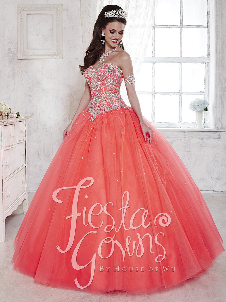 Style 56283 House of Wu Fiesta Orange Size 2 Tulle Tall Height Lace Ball gown on Queenly