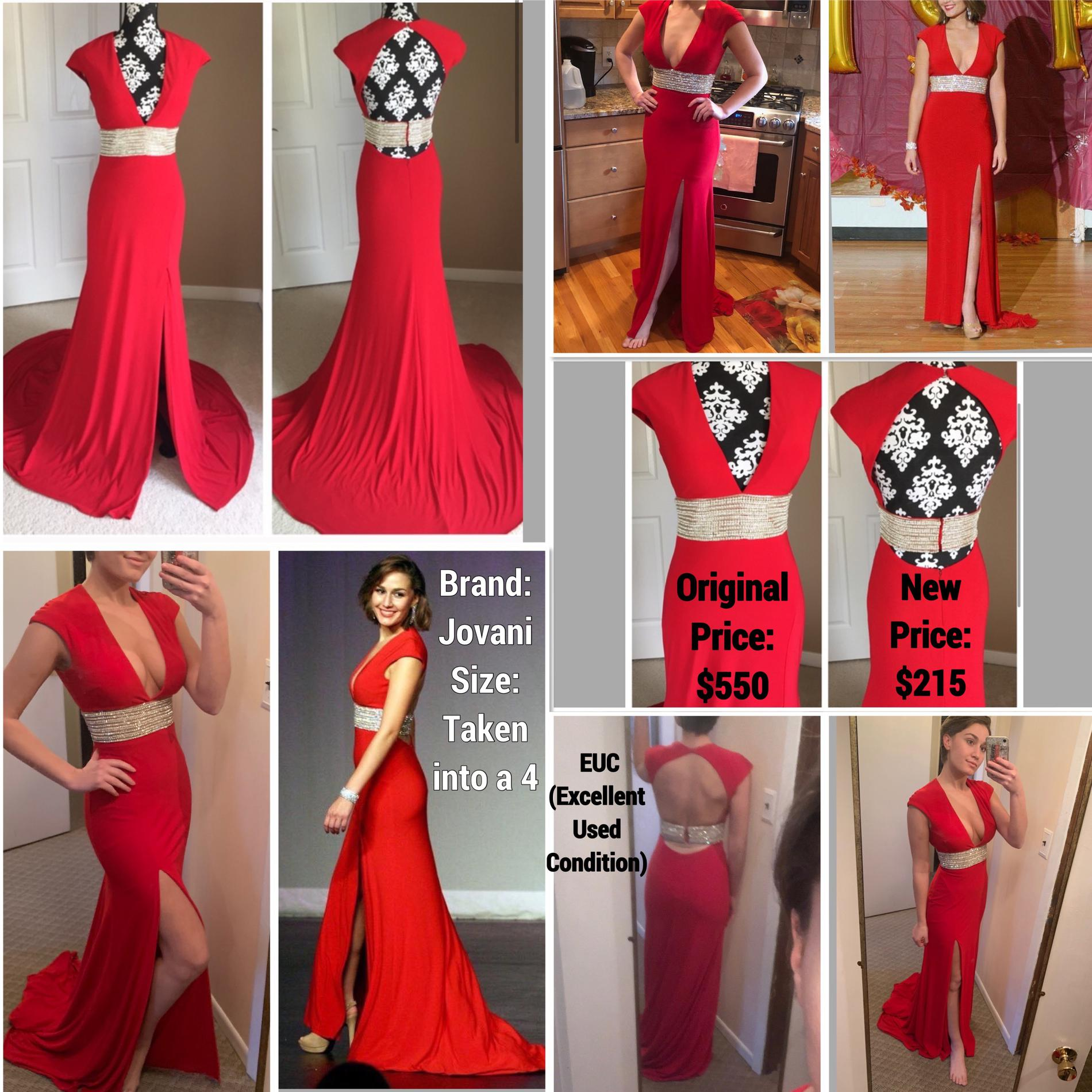 Jovani Red Size 4 Jersey Prom A-line Dress on Queenly