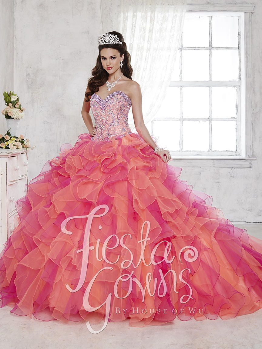 Style 56275 House of Wu Fiesta Orange Size 6 Quinceanera Tulle Tall Height Lace Ball gown on Queenly