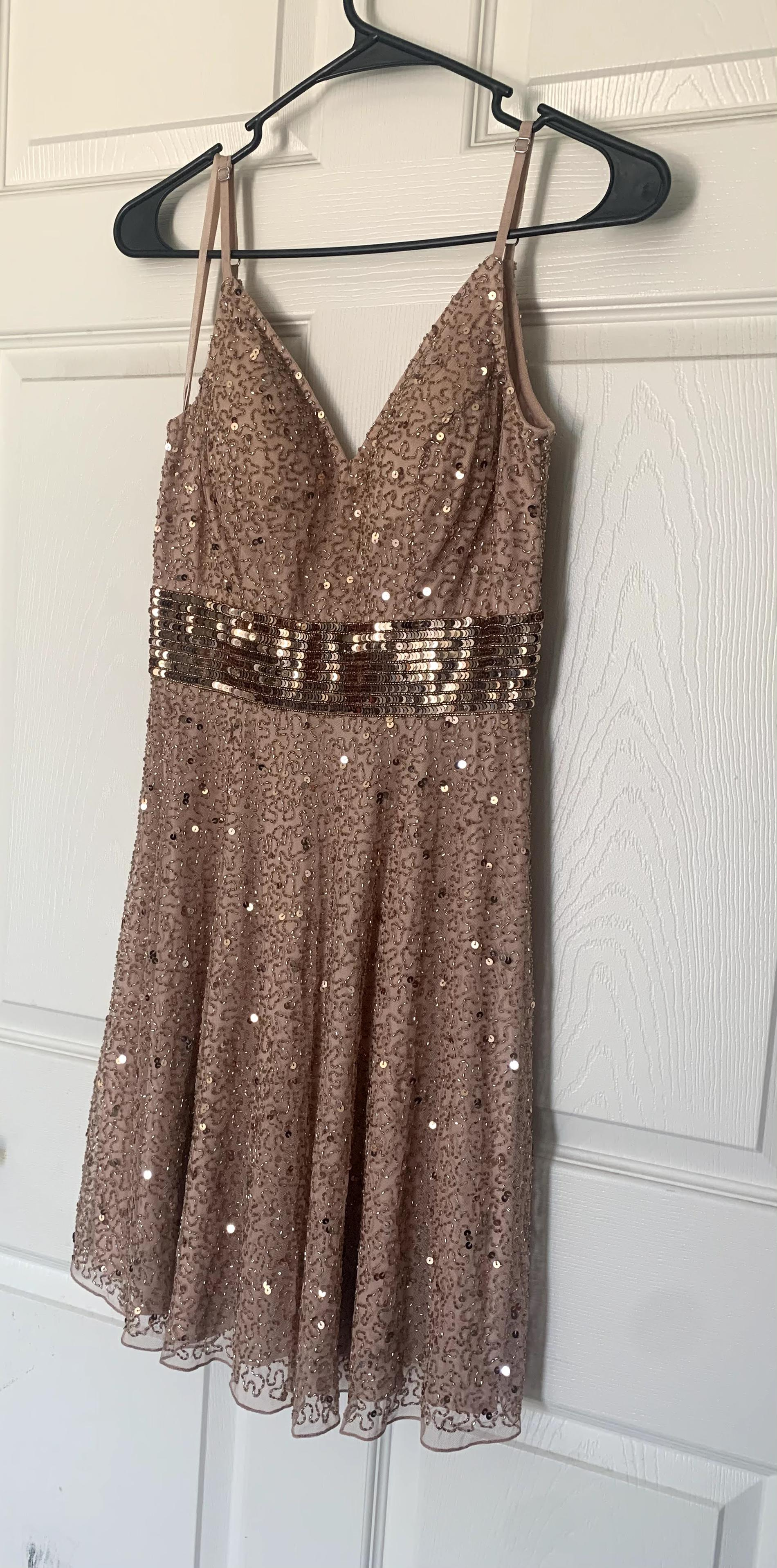 Ashley Lauren Gold Size 4 Flare Cocktail Dress on Queenly