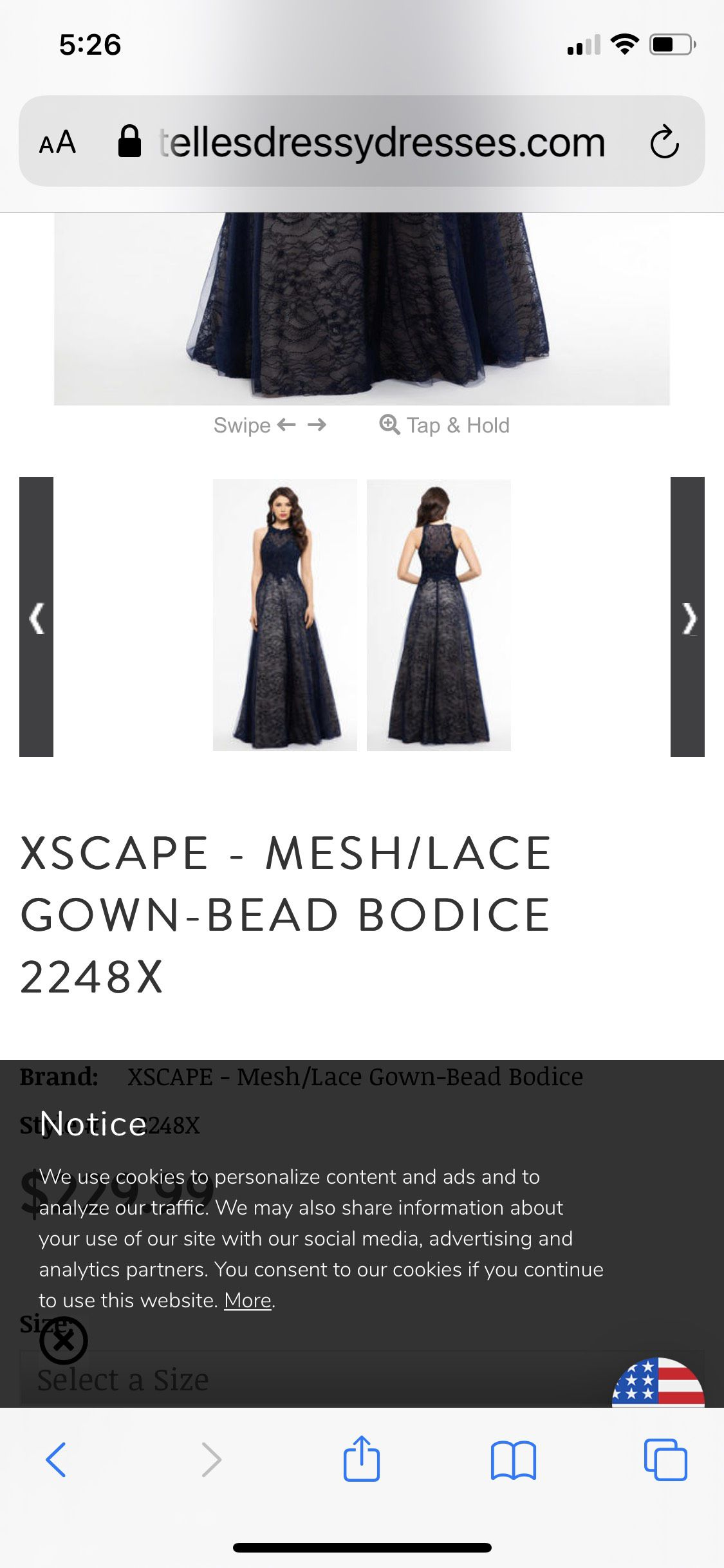 Xscape Blue Size 4 Nude Ball gown on Queenly