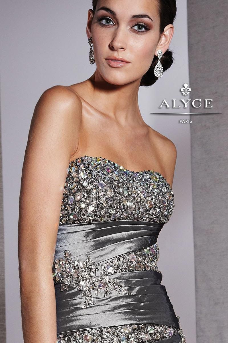 Style 5522 Alyce Paris Silver Size 4 Pageant Tall Height Side slit Dress on Queenly