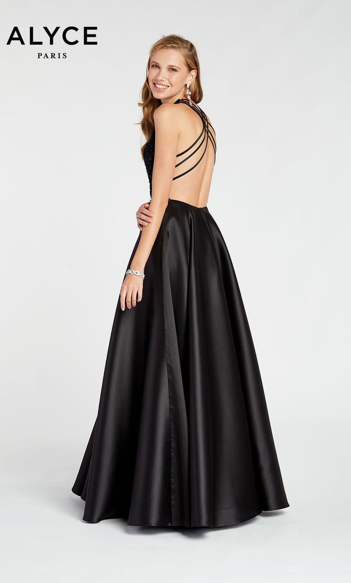 Style 1411 Alyce Paris Black Size 12 Pageant Halter Tall Height Ball gown on Queenly