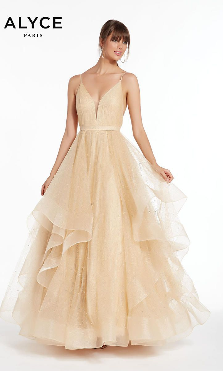 Style 1441 Alyce Paris Gold Size 4 Ruffles Quinceanera Tall Height Ball gown on Queenly