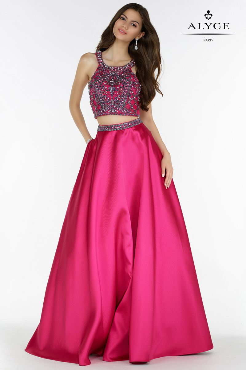 Style 6778 Alyce Paris Pink Size 14 Halter Tall Height A-line Dress on Queenly